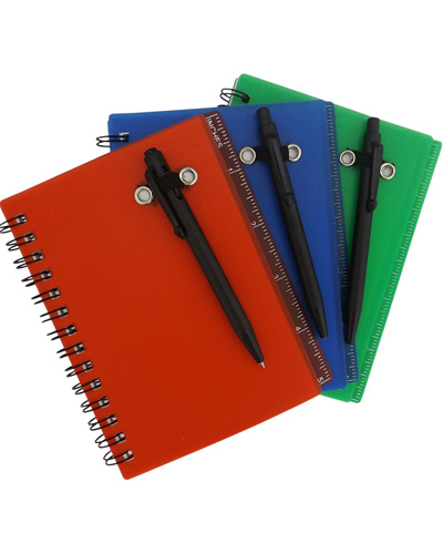 Bloco de anotações com capa Plástica | Bloco de anotações personalizado com regua na contra capa.Aco