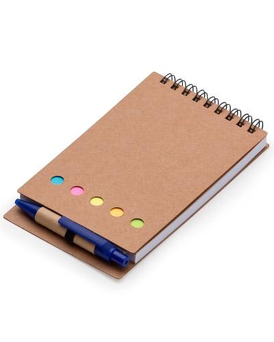 Bloco de Anotações com post it e caneta  | Bloco de anotações personalizado, em papel reciclado com