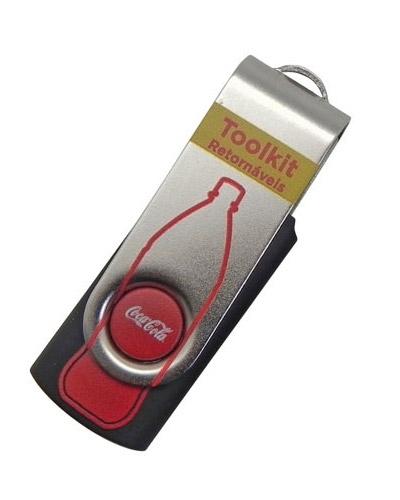 Pen drive Giratório Personalizado Promocional | Pen drive personalizado modelo SM. Impressão da logo
