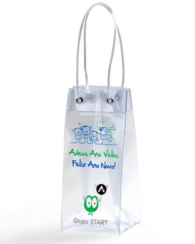 Embalagens Plásticas | Sacola Plástica Personalizada. Confeccionada em PVC CRISTAL 0,20 mm. Impressã
