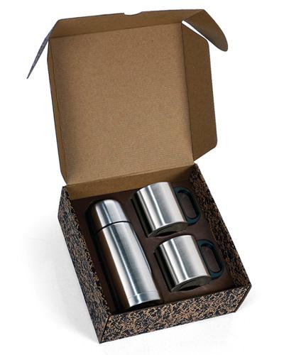 Garrafa Térmica Personalizada de Inox  | Conjunto de Garrafa térmica e 2 canecas personalizada.É o b