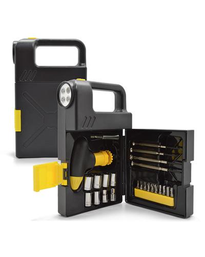 Kit de Ferramentas com Lanterna Promocional | Kit ferramenta Personalizado com lanterna e 24 peças.