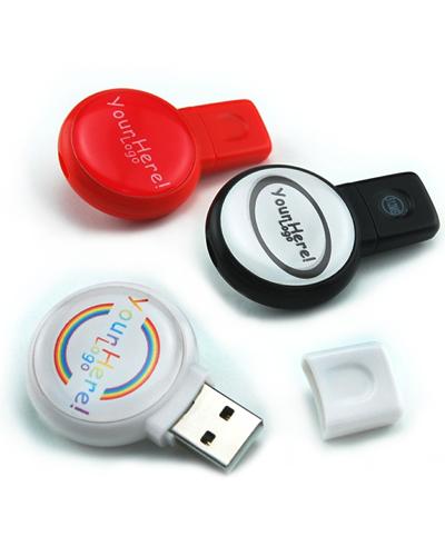 Pen Drive 4GB Redondo Personalizado | Pen drive personalizado com impressão da logomarca em etiqueta