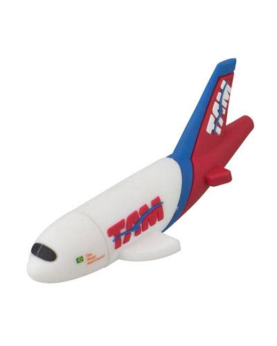 Pen drive Emborrachado Avião 3D | Pen drive personalizado em formato de avião. Emborrachado, e com c