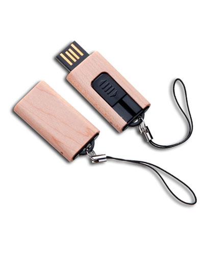 Pen drive retrátil 4 gb Ecológico | Pen drive Ecológico personalizado em madeira retrátil. Com impre