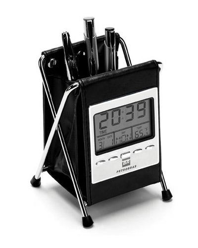 Porta Canetas com Relógio de Mesa Personalizado