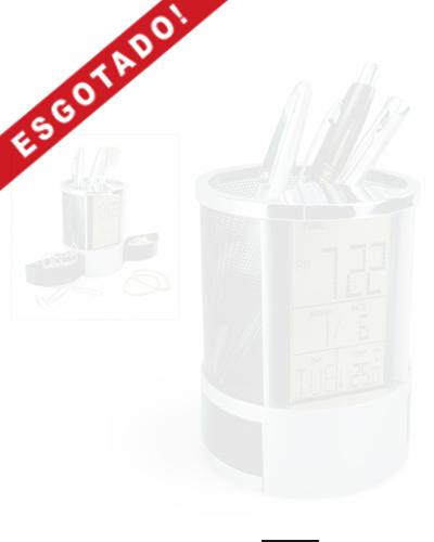 Porta Canetas com Relógio Digital e Porta Clips