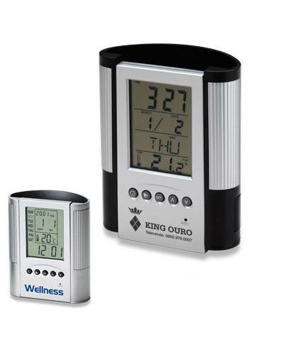 Porta Canetas com Relógio Promocional | Relógio de mesa com porta caneta personalizado. Em plástico