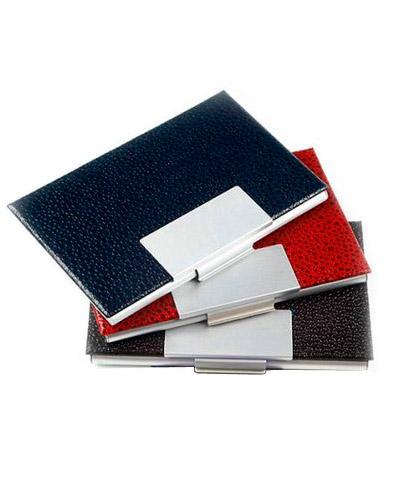 Porta Cartão Personalizado em Couro | Porta Cartão Personalizado Couro com placa de metal. Em cores
