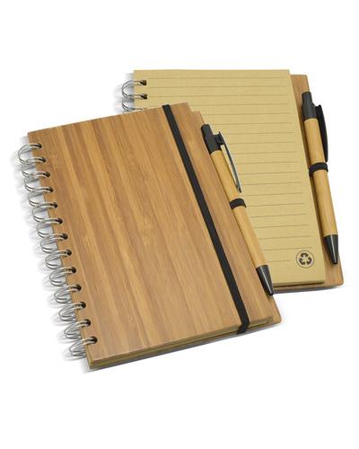 Bloco de Anotação - Bloco de Anotações com Capa de Bambu