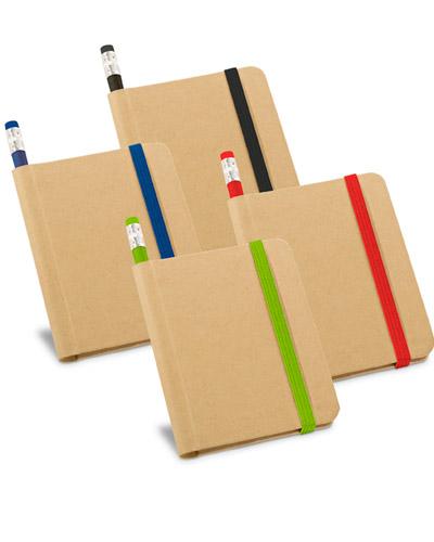 Caderno capa dura com lápis para brindes