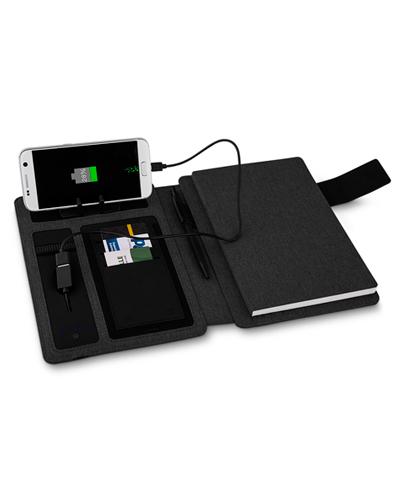 Carregador Portátil Personalizado - Caderno Executivo com Powerbank Personalizado