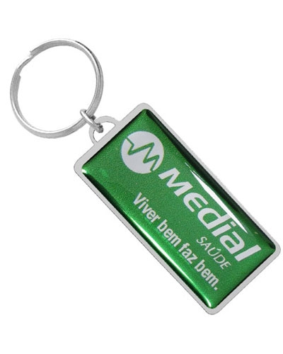Chaveiro Resinado - Chaveiro Retangular de Metal Resinado Personalizado