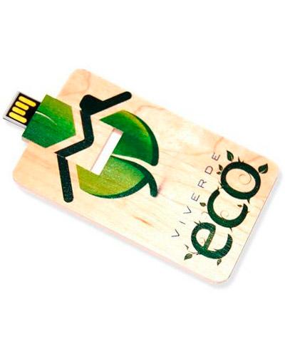 Pen drive Ecológico - Pen Card 4gb em Madeira Personalizado
