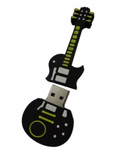 Brindes Personalizados -  Pen drive Emborrachado Guitarra 2D